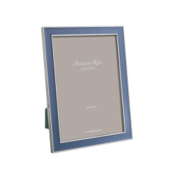 """Enamel Range Photograph frame, 5 x 7"""" with 15mm border, Denim With Silver Plate"""