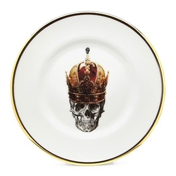 Skull in Red Crown Salad plate, 23cm, crisp white/burnished gold edge