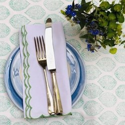 Scalloped Edge Napkin, 45 x 45cm, green cotton