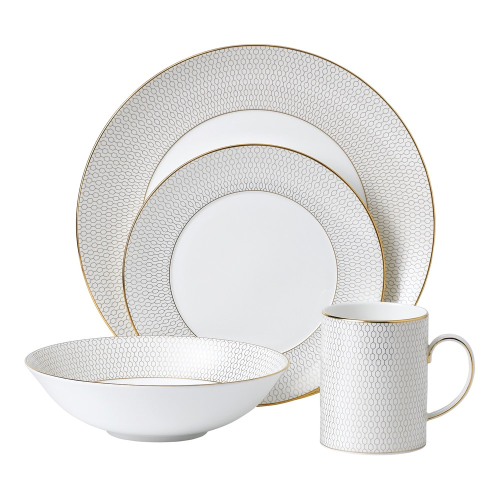Arris 4 piece dinnerware set, White