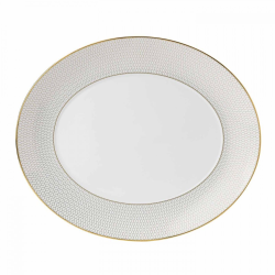 Arris Oval serving platter, 33cm, White With Gold Band