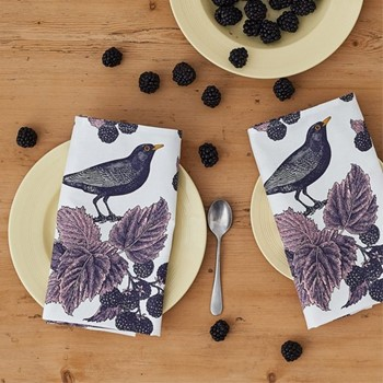 Blackbird & Bramble Set of 4 napkins, 45 x 45cm, white/purple/pink