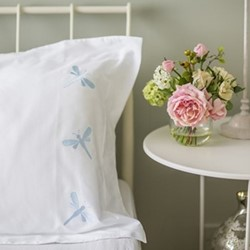 Dragonflies - 800 Thread Count Square standard pillowcase, W65 x L65cm, butterfly blue on white sateen cotton