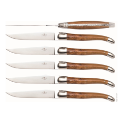 Set of 6 steak knives, juniper handle with stainless steel bolsters