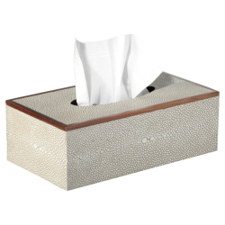 Faux Shagreen Tissue box holder, L25 x W14 x H9cm, Taupe