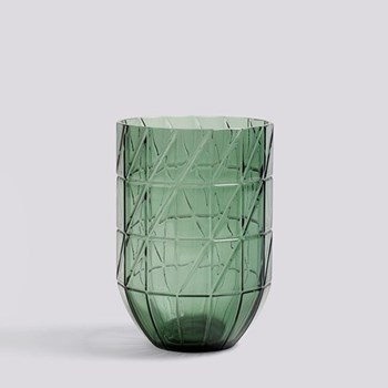 Colour Large glass vase, H19 x W13.5cm, green
