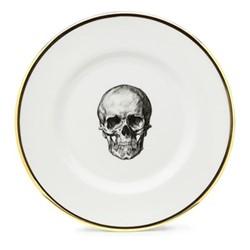 Skull Side plate, 17cm, crisp white/burnished gold edge