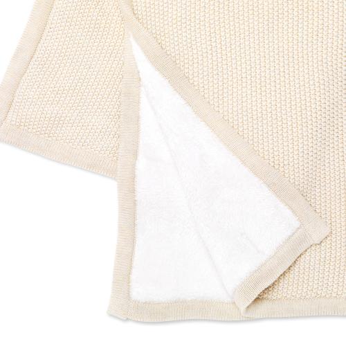 Organic Knitted Fleece baby blanket, H100 x W80 x L100cm, Linen