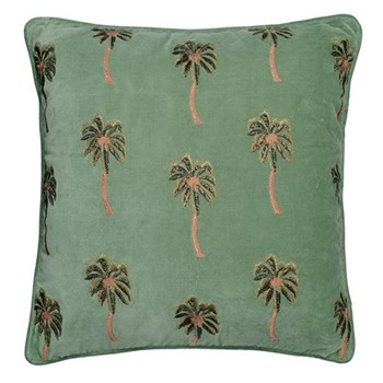 Kenya Collection - African Palmier Cushion with polyester insert, 45 x 45cm, khaki velvet