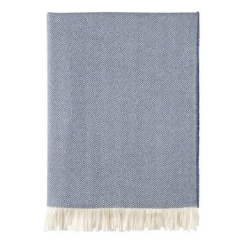 Herringbone Merino woven throw, 190 x 140cm, denim & white