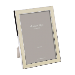 """Enamel Range Photograph frame, 5 x 7"""" with 15mm border, Vanilla With Silver Plate"""