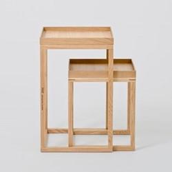 Pair of nest tables, H58.5 x W36 x D36cm, oak