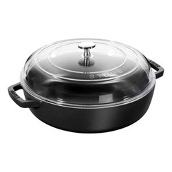 Saute pan with glass lid, 24cm, black