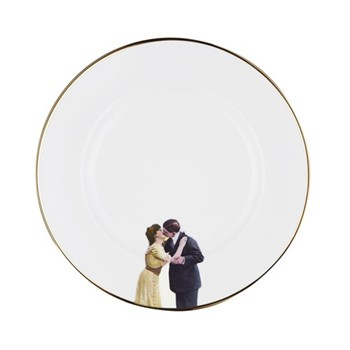 Kissing Couple Dinner plate, 27cm, crisp white/burnished gold edge