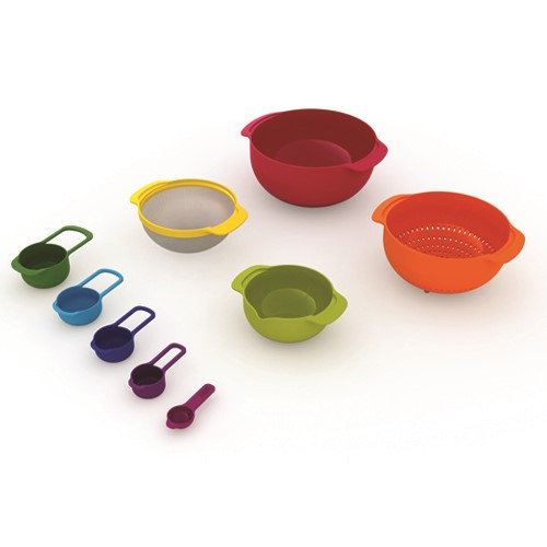 Nest Plus 9 piece stacking bowl and measuring set, Multi-Coloured