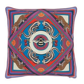 Trippy Town Cushion, L45 x W45cm, blue