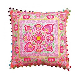 Tulum Embroidered cushion, L40 x W40cm, pink/orange