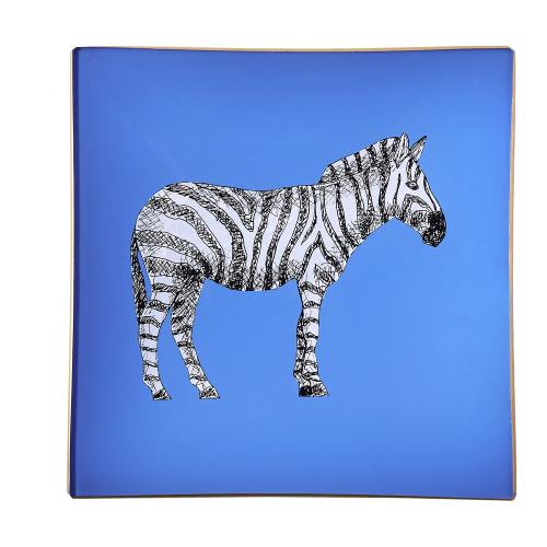 Zebra Square decoupage tray, 15cm, Cornflower Blue/Gold Edging
