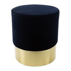 Round stool, H47 x D43cm, navy/gold