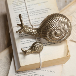Large snail paper weight, 6.5 x 12 x 5.5cm, Antique Brass