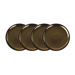 Dauville Set of 4 coasters, 10cm, charcoal with gold glaze
