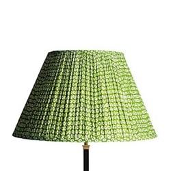 Empire Block printed lampshade, 50cm, green cotton