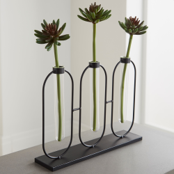 Flower holder, L34.7 x W8 x D26cm, black
