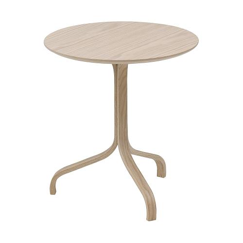 Lamino Side table, Dia46 x H49cm, White Pigmented Oak