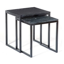 Reese Nested side tables, W46 x H47.5 x D40.5cm, black marble