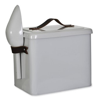 Pet bin and scoop, 25 x 19cm, chalk with leather handle