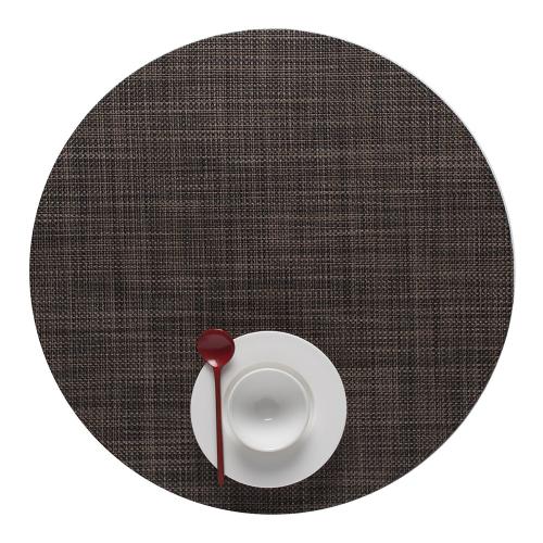 Mini Basketweave Set of 4 round placemats, 38cm, Dark Walnut