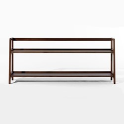 Agnes by Kay + Stemmer Long shelving unit, W160 x D31 x H68cm, walnut
