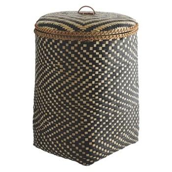 Idaho Bamboo weave laundry bin, W44 x H59 x D44cm, black
