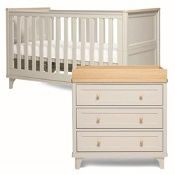 Lucca Cotbed and dresser changer, grey/oak