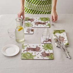 Classic Rabbit & Cabbage Set of 4 coasters, 10 x 10cm