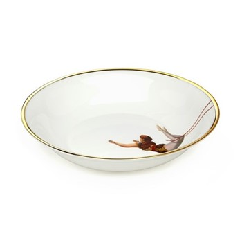 Trapeze Girl Bowl, 18.5 x 4cm, crisp white/burnished gold edge