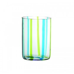 Tirache Set of 6 tumblers, 35cl, aquamarine and green stripes