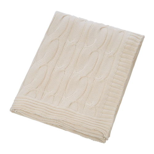 Cable Knit Throw, 140 x 170cm, Cream