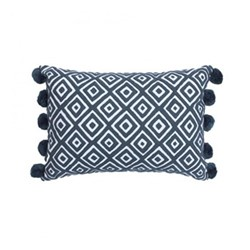 Kabuki Rectangular cushion with pompoms, L50 x W35cm, grey/white
