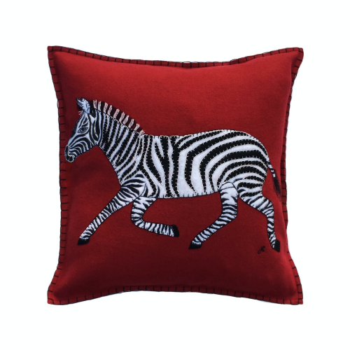 Zebra Cushion, 46 x 46cm, Red