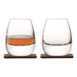 Whisky Pair of Islay tumblers with walnut coasters, 250ml, clear