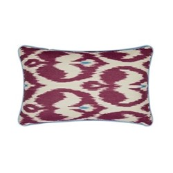 Ikat Cushion, 60 x 40cm, Burgundy/Blue