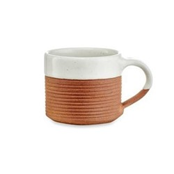 Mali Ribbed coffee mug, white and terracotta