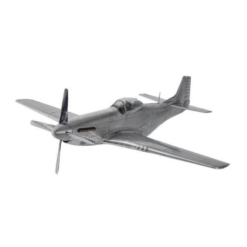 WWII Mustang Model aircraft, H25 x W75 x L66cm, Polished Aluminum