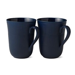 Blue Fluted Pair of mugs, 33cl