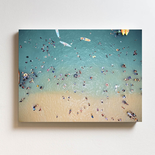 Aerial Of People At The Beach Mounted print, H51 x W69cm, Perspex