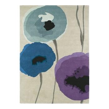 Poppies Rug, 170 x 240cm, indigo/purple
