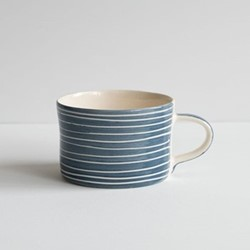 Sgrafitto Stripe Set of 6 mugs, H7 x W10.5cm, blue