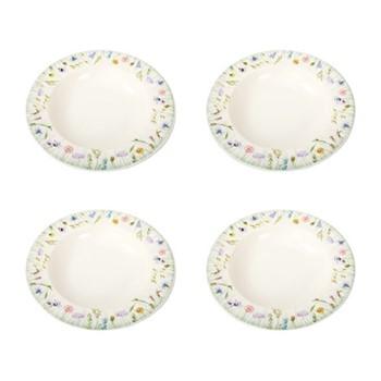 Fleur des Pres Set of 4 deep rimmed bowls, W26 x H4cm, cream