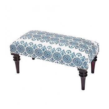 Safi Embroidered upholstered bench, L80 x W40 x H37cm, navy/linen